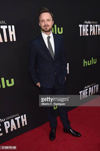 Actor Aaron Paul arrives during the premiere of Hulu's 'The Path' at ArcLight Hollywood on March 21 2016 in Hollywood California