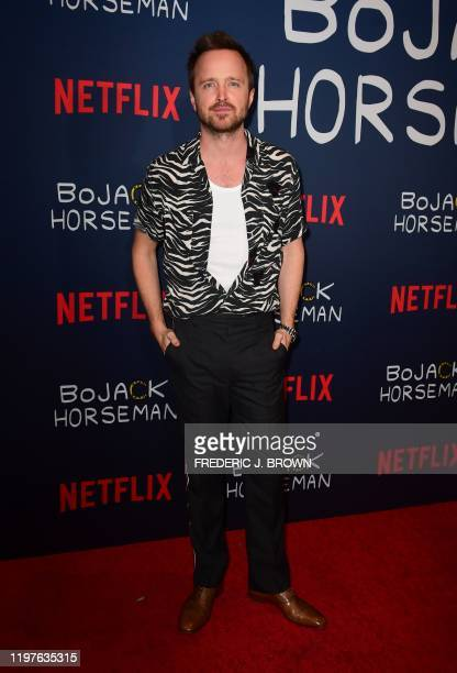 "Actor Aaron Paul arrives for Netflix's ""Bojack Horseman"" Final Episodes photo call in Hollywood, California on January 30, 2020."