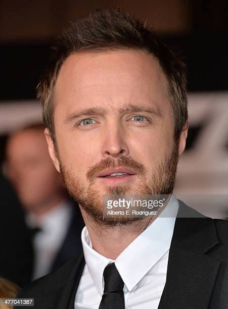 """Actor Aaron Paul arrives for the premiere of DreamWorks Pictures' """"Need For Speed"""" at TCL Chinese Theatre on March 6, 2014 in Hollywood, California."""