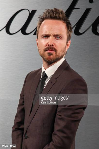 Actor Aaron Paul arrives on the red carpet for the Santos de Cartier Watch Launch at Pier 48 on April 5 2018 in San Francisco California