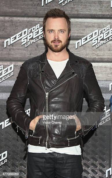 "Actor Aaron Paul attends a press junket and photocall to promote his new film ""Need For Speed"" at Four Seasons Hotel on March 8, 2014 in Mexico City,..."