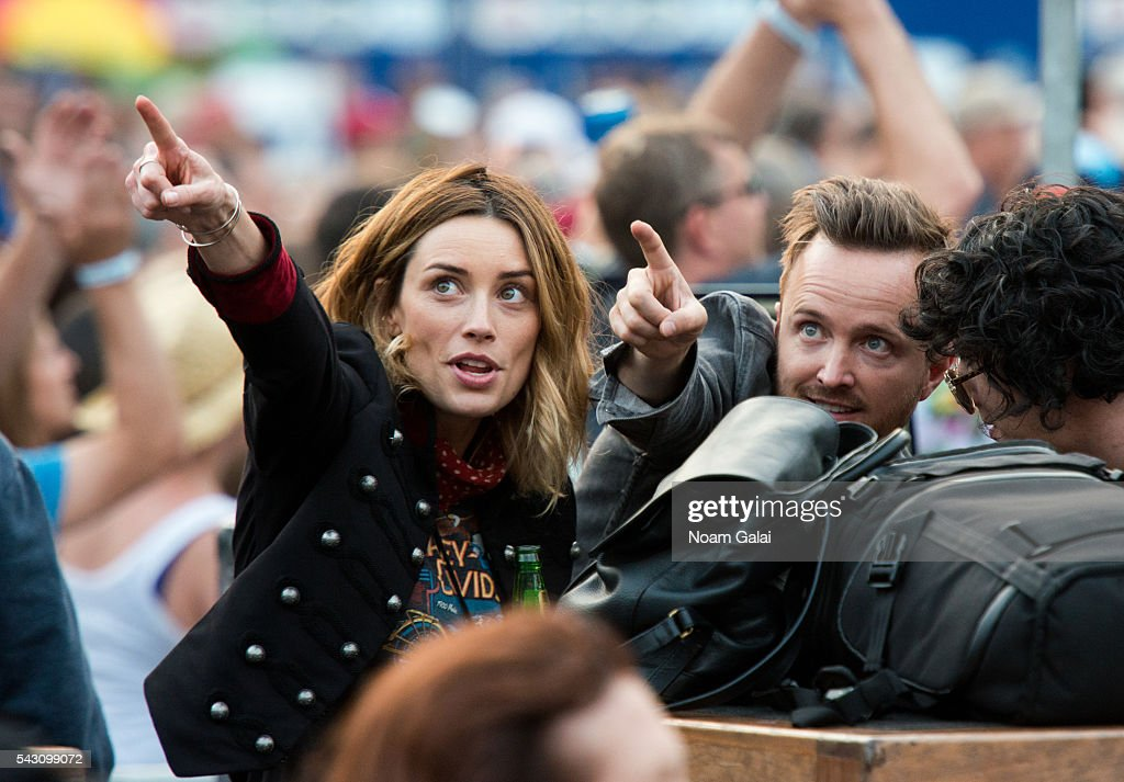 Actor Aaron Paul (R) attends Dead & Company's concert in concert at Citi Field on June 25, 2016 in the Queens borough of New York City.