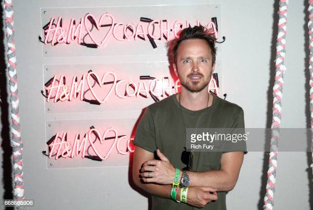 Actor Aaron Paul attends H&M Loves Coachella Tent during day 1 of the Coachella Valley Music & Arts Festival at the Empire Polo Club on April 14,...