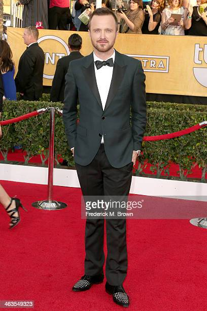 Actor Aaron Paul attends the 20th Annual Screen Actors Guild Awards at The Shrine Auditorium on January 18 2014 in Los Angeles California