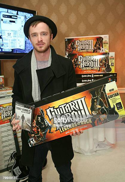 Actor Aaron Paul attends The Belvedere Luxury Lounge in honor of the 80th Academy Awards featuring Activision's Guitar Hero III Legends of Rock held...