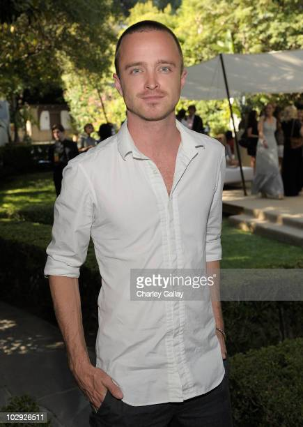 Actor Aaron Paul attends the Burberry Beauty garden tea at a private residence on July 14 2010 in Beverly Hills California