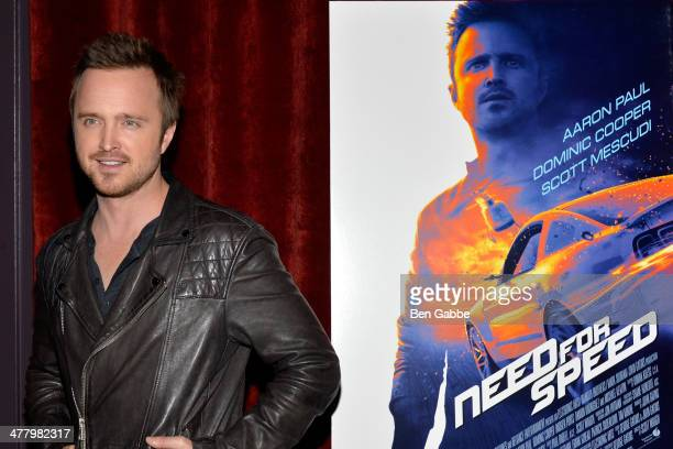 Actor Aaron Paul attends The Cinema Society Bushmill's screening of DreamWorks Pictures' 'Need for Speed' at the Tribeca Grand Hotel on March 11 2014...