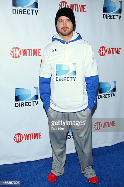 Actor Aaron Paul attends the DirecTV Beach Bowl at Pier 40 on February 1 2014 in New York City