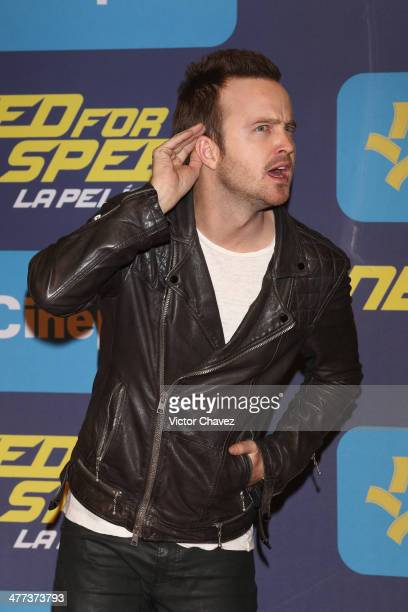 Actor Aaron Paul attends the 'Need For Speed' Mexico City premiere red carpet at Cinepolis Patio Santa Fe on March 8 2014 in Mexico City Mexico