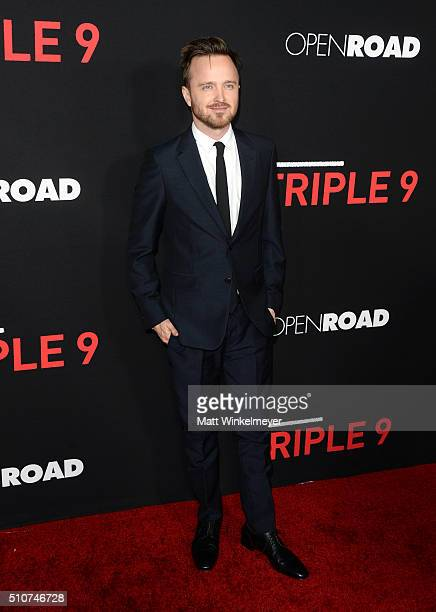 Actor Aaron Paul attends the premiere of Open Road's 'Triple 9' at Regal Cinemas LA Live on February 16 2016 in Los Angeles California