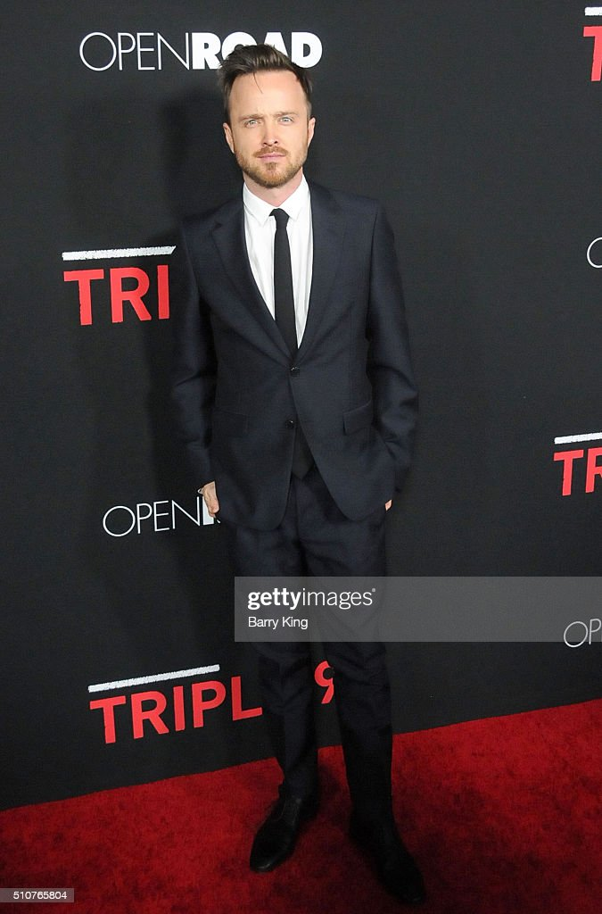 Actor Aaron Paul attends the premiere of Open Road's 'Triple 9' at Regal Cinemas L.A. Live on February 16, 2016 in Los Angeles, California.