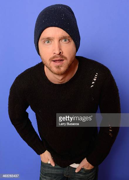 Actor Aaron Paul poses for a portrait during the 2014 Sundance Film Festival at the Getty Images Portrait Studio at the Village At The Lift Presented...