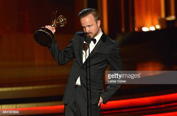 Actor Aaron Paul speaks onstage at the 66th Annual Primetime Emmy Awards held at Nokia Theatre LA Live on August 25 2014 in Los Angeles California