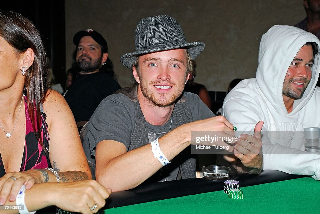 Actor Aaron Paul (C) waits for his cards at The Clear View Treatment Center's Charity Texas Hold'Em celebrity poker tournament, held at the Roosevelt Hotel on July 16, 2007 in Los Angeles, California.