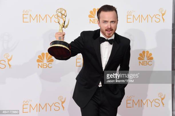 Actor Aaron Paul winner of Outstanding Drama Series Award and Outstanding Supporting Actor in a Drama Series Award for Breaking Bad poses in the...