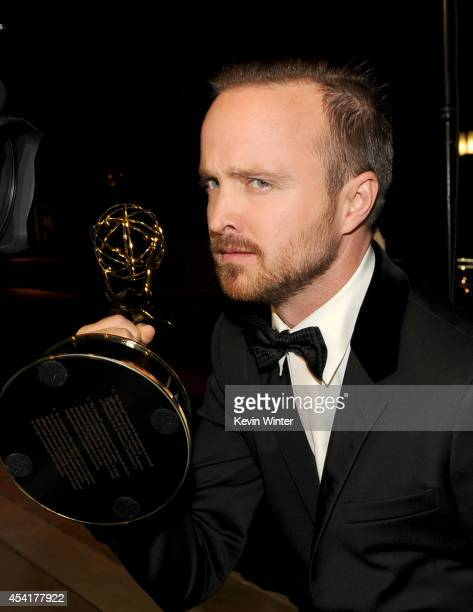 Actor Aaron Paul winner of Outstanding Supporting Actor in a Drama Series for 'Breaking Bad', attends the 66th Annual Primetime Emmy Awards Governors...