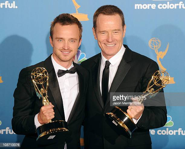 "Actor Aaron Paul, winner of the Outstanding Supporting Actor in a Drama Series Award for ""Breaking Bad"" and actor Bryan Cranston, Outstanding Lead..."