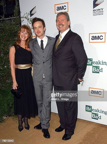 Actor Aaron Paul with parents Bob and Carla Sturtevant arrives at the Premiere Screening of AMC's new Sony Pictures' Television drama Breaking Bad...