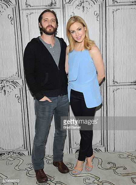 Actor Aaron Stanford and Amanda Schull attend the AOL Build Presents '12 Monkeys' at AOL Studios In New York on April 12 2016 in New York City