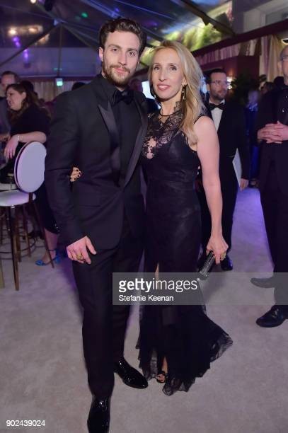 Actor Aaron TaylorJohnson and filmmaker Sam TaylorJohnson attend FIJI Water at HFPA's Official Viewing and AfterParty at the Wilshire Garden inside...