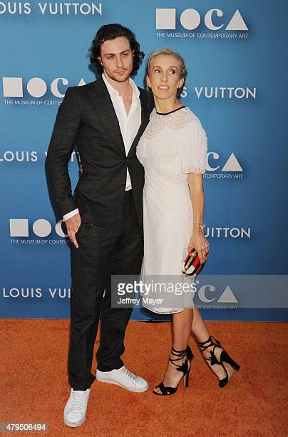 Actor Aaron TaylorJohnson and wife filmmaker Sam TaylorJohnson arrive at the 2015 MOCA Gala presented by Louis Vuitton at The Geffen Contemporary at...