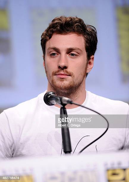 Actor Aaron TaylorJohnson attends the Marvel Studios panel during ComicCon International 2014 at San Diego Convention Center on July 26 2014 in San...