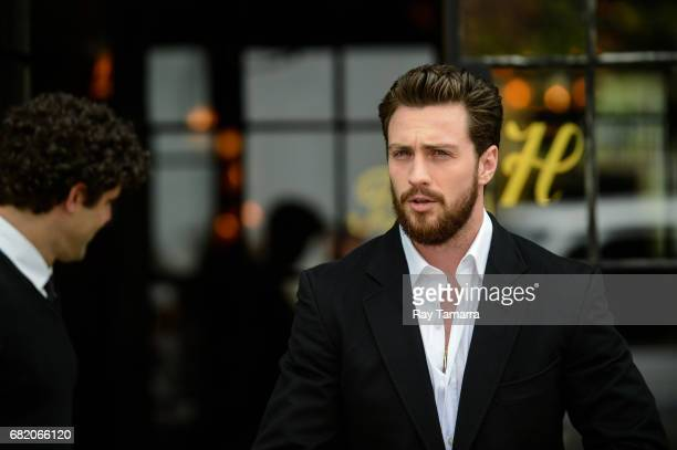 Actor Aaron TaylorJohnson leaves his Noho hotel on May 11 2017 in New York City