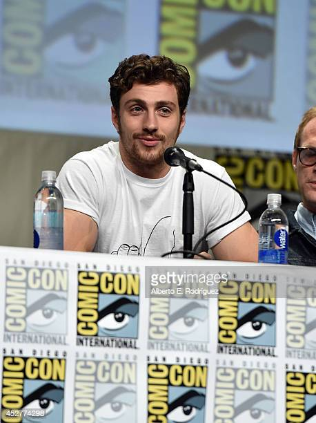 Actor Aaron TaylorJohnson onstage at Marvel's Hall H Panel for 'Avengers Age Of Ultron' during ComicCon International 2014 at San Diego Convention...