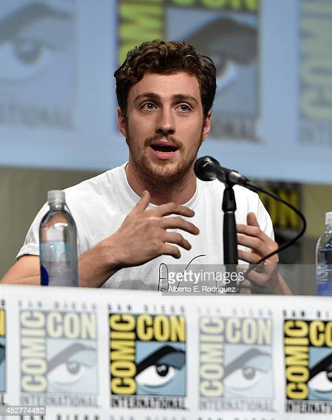 Actor Aaron TaylorJohnson onstage at Marvel's Hall H Panel for Avengers Age Of Ultron during ComicCon International 2014 at San Diego Convention...