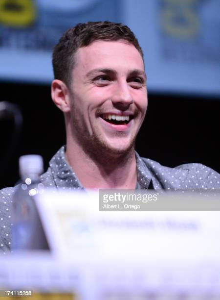 Actor Aaron TaylorJohnson speaks onstage at the Warner Bros and Legendary Pictures preview of 'Godzilla' during ComicCon International 2013 at San...