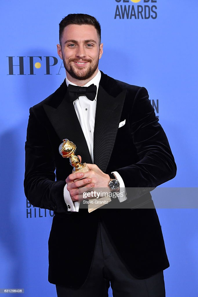 Actor Aaron Taylor-Johnson, winner of the Best Performance by an Actor in a Supporting Role in a Motion Picture award for 'Nocturnal Animals,' poses in the press room during the 74th Annual Golden Globe Awards at The Beverly Hilton Hotel on January 8, 2017 in Beverly Hills, California.