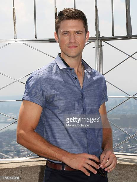 Actor Aaron Tveit visits The Empire State Building on July 17 2013 in New York City