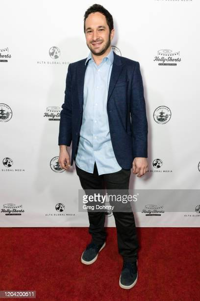 Actor Aaron Wolf attends the HollyShorts Film Festival and Alta Globa Media Oscar Nominee Celebration at Yamashiro Hollywood on February 04 2020 in...