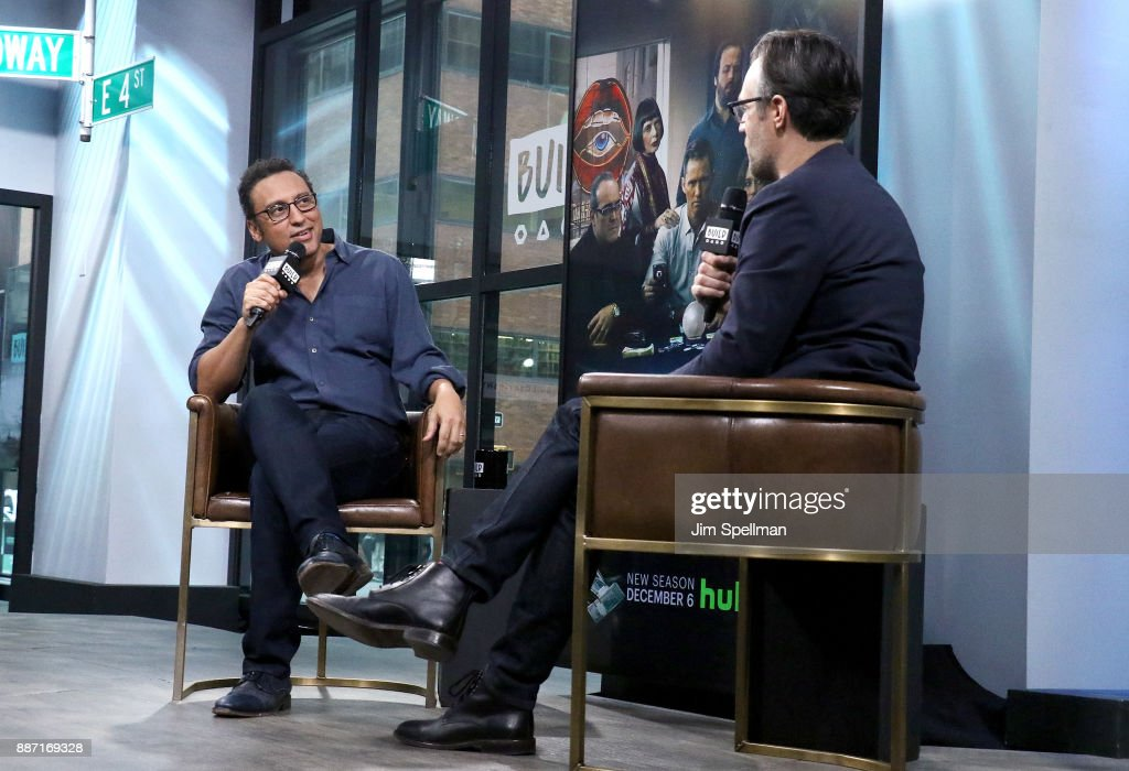 Actor Aasif Mandvi and moderator Ricky Camilleri attend Build to discuss 'Shut Eye' and 'Brigadoon' at Build Studio on December 6, 2017 in New York City.