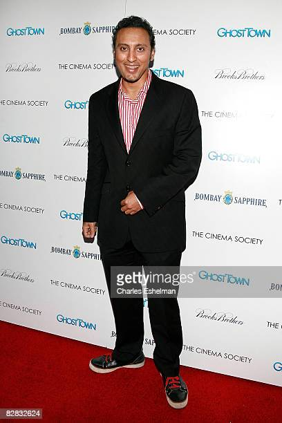 Actor Aasif Mandvi arrives at the screening of Ghost Town hosted by The Cinema Society with Brooks Brothers and Bombay Sapphire at the IFC Center on...