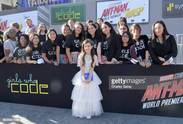 Actor Abby Ryder Fortson and Girls Who Code attend the Los Angeles Global Premiere for Marvel Studios' 'AntMan And The Wasp' at the El Capitan...