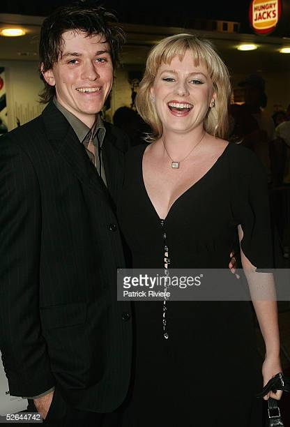 Actor Abe Forsythe and his girlfriend actress Helen Dallimore attend the red carpet premiere of 'The Extra' at Hoyts Greater Union Centre Cinema...
