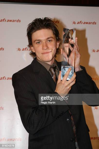 Actor Abe Forsythe holds his Best Actor in a leading Role in a television drama or comedy Award in 'Summersault' at the AFI Awards at the Regent...