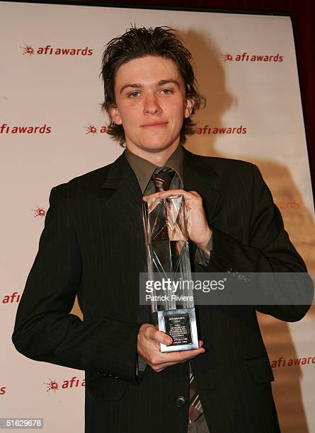 Actor Abe Forsythe with his Award for Best Supporting Actor in a Television Drama at the AFI Awards at the Regent Theatre October 29 2004 in...