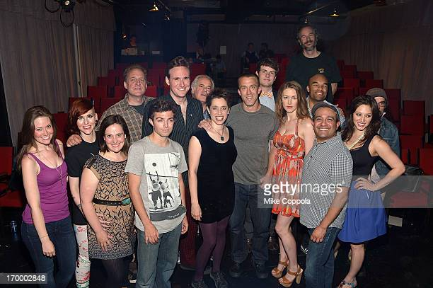 """Actor Abe Goldfarb , Tucker Max , and director Christopher Carter Sanderson pose for a picture with the cast of """"I hope They Serve Beer on Broadway""""..."""