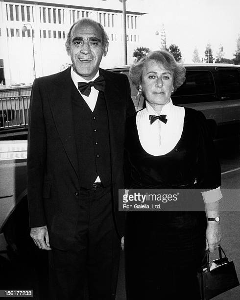 Actor Abe Vigoda and wife Beatrice Schy attend ABC TV Affiliates Party on May 9 1983 at the Century Plaza Hotel in Century City California