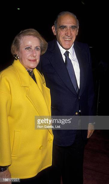 Actor Abe Vigoda and wife Beatrice Schy attend the premiere of 'Joe vs The Volcano' on March 7 1990 at Mann Regent Theater in Los Angeles California