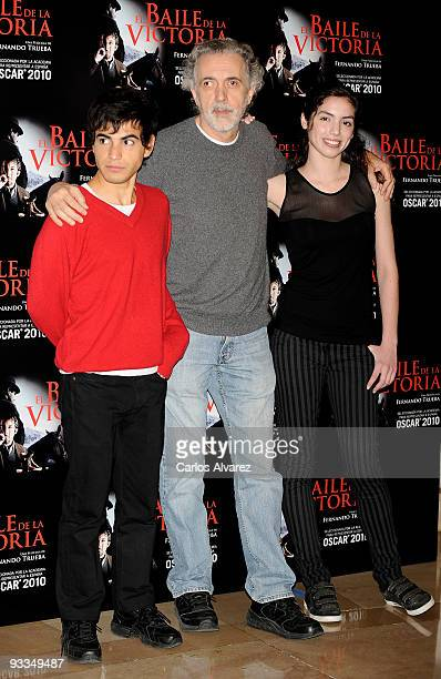 Actor Abel Ayala Spanish director Fernando Trueba and actress Miranda Bodenhofer attend 'El Baile de la Victoria' photocall at Palafox cinema on...