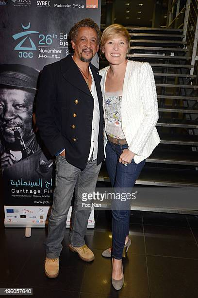 Actor Abel Jafri and journalist Estelle Martin from TV5 attends the 'Carthage Film Festival 2015' JCC Press Conference at Institut du Monde Arabe on...