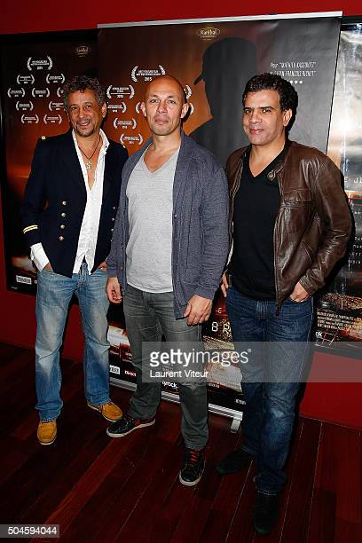 Actor Abel Jafri Director Julien Seri and Actor Zakarya Gouram attend 'Night Fare' Paris Premiere at Drugstore Publicis Cinema on January 11 2016 in...