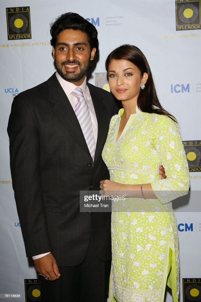 Actor Abhishek Bachchan and Actress Aishwarya Rai arrives at the Indian Splendor Screening of `Guru` at the Billy Wilder Theatre on August 14 2007 in.