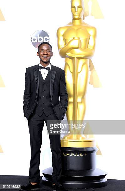 Actor Abraham Attah poses in the press room during the 88th Annual Academy Awards at Loews Hollywood Hotel on February 28 2016 in Hollywood California