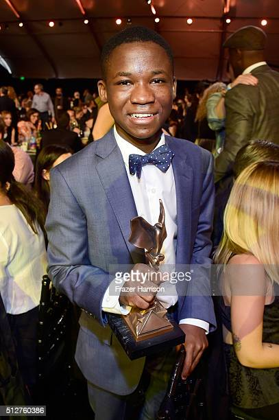 Actor Abraham Attah winner of the Best Male Lead award for 'Beasts of No Nation' attends the 2016 Film Independent Spirit Awards on February 27 2016...