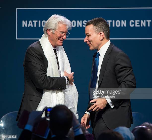 Actor activist and philanthropist Richard Gere and President and Chief Executive Officer of the National Constitution Center Jeffrey Rosen attend...