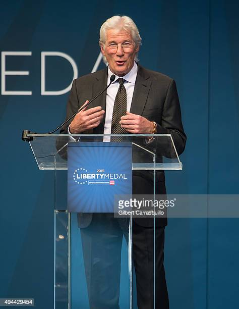 Actor, activist and philanthropist Richard Gere attends 2015 Liberty Medal Ceremony honoring His Holiness the 14th Dalai Lama of Tibet at National...